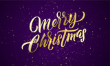 Christmas golden light sparkles, Xmas gold glitter confetti. Merry Christmas gold calligraphy lettering vector greeting card - 229170032