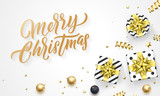 Merry Christmas holiday background template of golden decoration and hand drawn calligraphy font - 229170062