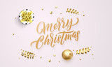 Merry Christmas greeting card background design template of golden glittering hand drawn calligraphy text and confetti decoration - 229170453