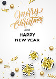Happy New Year and Merry Christmas greeting card background template of golden modern quote calligraphy. Vector gift ribbon or gold glittering confetti stars - 229170631