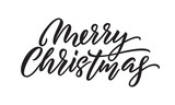 Merry Christmas hand drawn calligraphy, Xmas holiday quote text. Vector lettering on white background for Christmas greeting card - 229170671