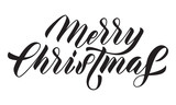 Merry Christmas hand drawn calligraphy lettering or Xmas holiday greeting card text - 229170690