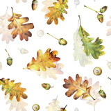 Seamless pattern with autumn yellow leaves of oak and acorns. Hand drawn illustration with colored pencils. Botanical natural design for textiles, interior or some background. - 229182263