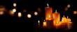 Leinwandbild Motiv Candle lights and bokeh in the night