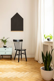 Real photo of a black chair, blackboard and plants in a child room interior - 229183006