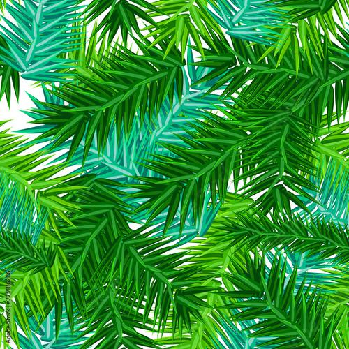 fototapeta na ścianę Green succulent fir branches seamless pattern on white