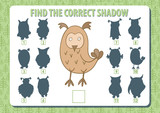 Owl. Find the correct shadow. Horizontal album a4 page. Vector