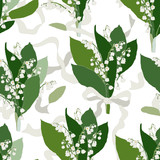 Convallaria majalis - Lilly of the valley - seamless pattern. Hand drawn vector illustration of white spring flowers tied with a ribbon on white background.