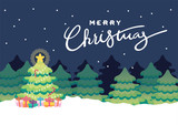 flat colorful christmas tree celebration illustration background vector