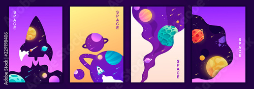 set of vector banners. space trip. universe. colorful templates for covers, flyers, posters. - 229198406