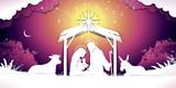 Christmas Banner Nativity sunset Scene - 229198692