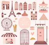 Set of elementsb and landmarks in Paris. Editable vector illustration
