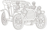 Old toy vintage car, black and white vector illustration for a coloring book