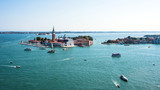 Aerial view of Venice and its Grand canal on a summer day