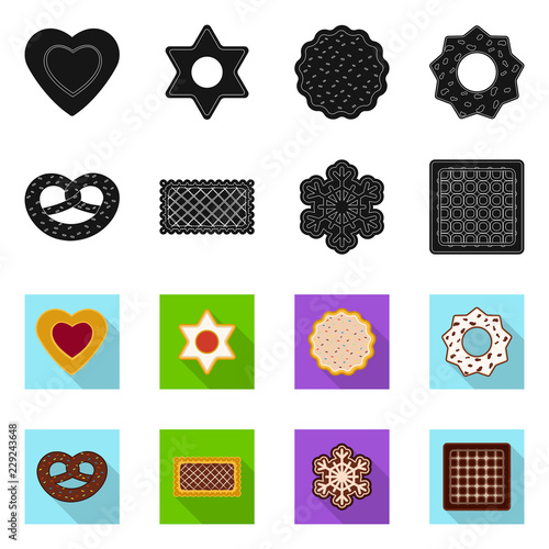 Vector design of biscuit and bake symbol. Collection of biscuit and chocolate vector icon for stock. © Svitlana