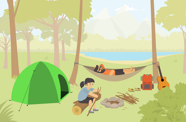 Young couple camps in the nature / Campers Lifestyle. Modern vector flat design illustration.