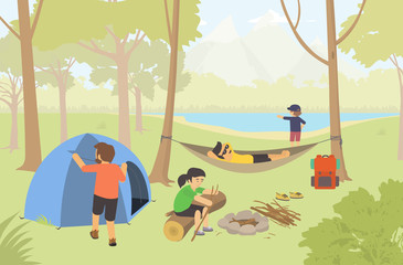 Camping in the nature with family / Campers Lifestyle. Modern vector flat design illustration.