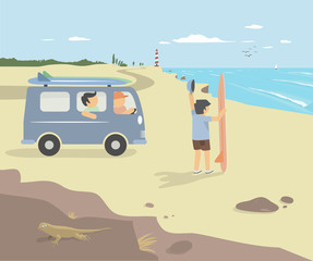 Surfers in van on the cliff with ocean and lighthouse in the background. Van Life Concept. Modern vector flat design illustration.