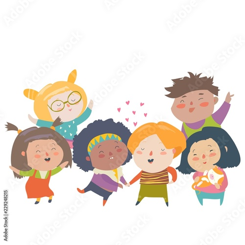 Group of children different nationalities and skin color. Race equality, tolerance, diversity - 229248215