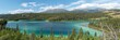 Panoramic photo of Emerald Lake, Yukon, Canada in summertime