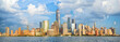 Lower Manhattan skyline panorama over Hudson River, New York