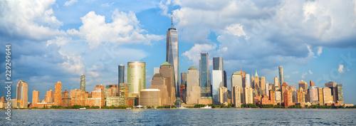 Lower Manhattan skyline panorama over Hudson River, New York - 229249644