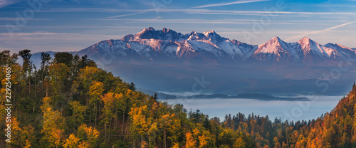 Tatra mountains panorama over autumn forest in the morning, Poland - 229254065