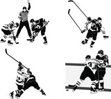 set of vector silhouettes ice hockey players