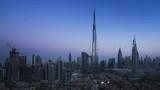 sunrise timelapse, downtown of Dubai, UAE