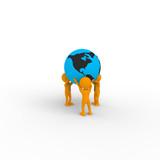 Characters holding earth globe