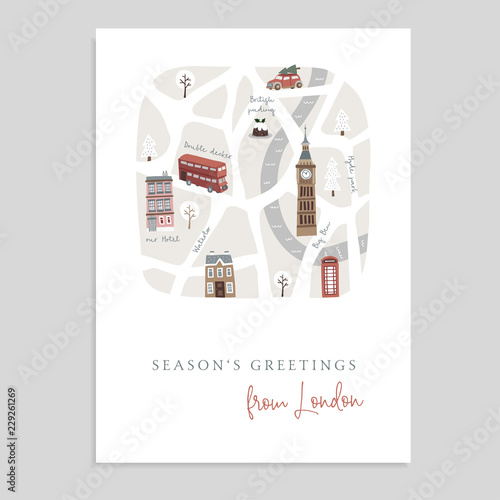 Cute Christmas greeting card, invitation with map of London. Hand drawn British streets, doubledecker, houses, car and Big Ben tower. English winter design. Vector illustration background.
