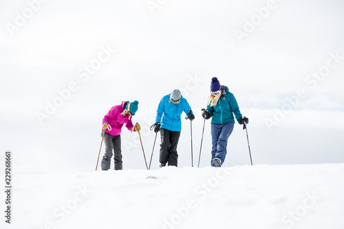 winter, skiing, woman, mountain, outdoors, happy, people, young, group, friends, smiling, white, fun, hat, beautiful, happiness, together, girls, friendship, casual, athletic, sports - 229268661