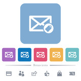 Tagging mail flat white icons in square backgrounds