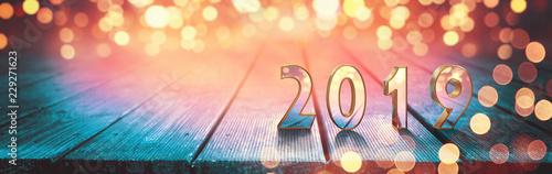 Leinwanddruck Bild Frohes neues Jahr 2019!