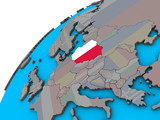 Poland with national flag on 3D globe.