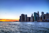 Manhattan and East River at sunset