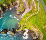 Wonderful view from above over Dunquin Pier Ireland on Dingle Peninsula Slea Head