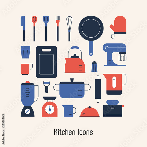 kitchen object icons poster. flat design style vector graphic illustration.