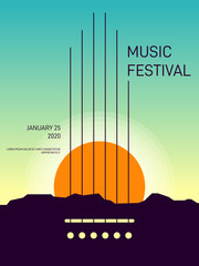 Music poster template design modern retro vintage style