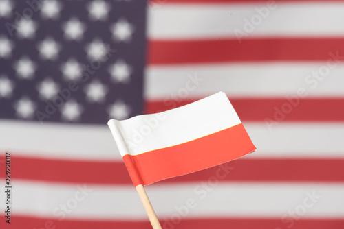Flagge von Amerika und Polen