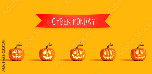 Cyber Monday with orange pumpkin lanterns with a red banner