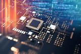 3d rendering  of futuristic blue circuit board - 229291861