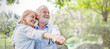 Leinwandbild Motiv Happy old couple smiling dancing in a park on a sunny day, hoot senior couple relax in the forest spring summer time. Healthcare lifestyle retirement concept banner