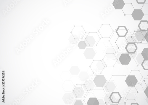 Molecular structure abstract tech background. Medical design. Vector illustration - 229296258