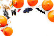 Halloween symbols. Pumpkins and cute figures of halloween evils. Bats. white background top view space for text