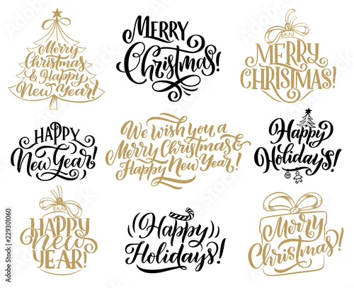 christmas new year holidays lettering quotes