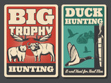 Hunting retro posters, wild animal and bird