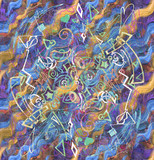 Abstract background colorful illustration. Bright graffiti art with symbols, object shapes and lines