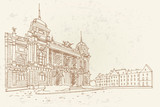 PrinVector sketch of Croatian National Theater in Zagreb, Croatia. - 229317873