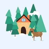 Winter landscape with a house and a dear in the forest. Moder flat design.